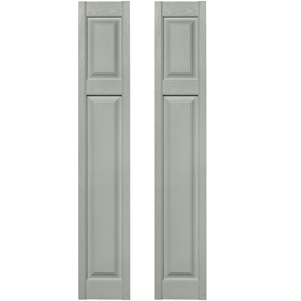 Builders Edge 12 in. x 67 in. Cottage Style Raised Panel Vinyl Exterior Shutters Pair #284 Sage