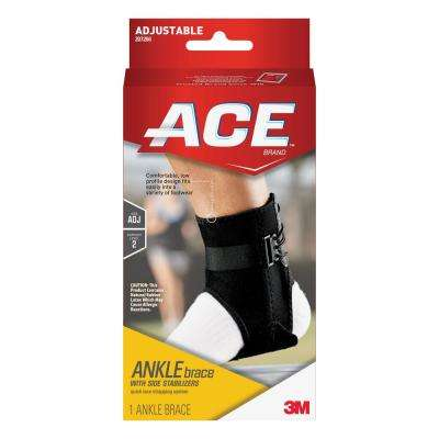 1-Size Adjustable Ankle Brace with Side Stabilizers Brace in Black