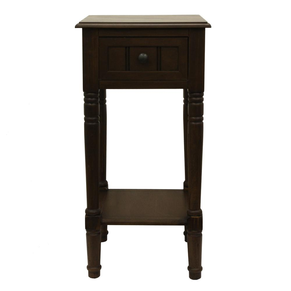 Decor therapy simplify ash brown 1 drawer end table fr1553 for Decor therapy