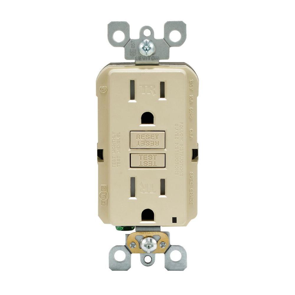 Leviton SmartLockPro 15 Amp Slim Tamper-Resistant GFCI Duplex Outlet, Ivory