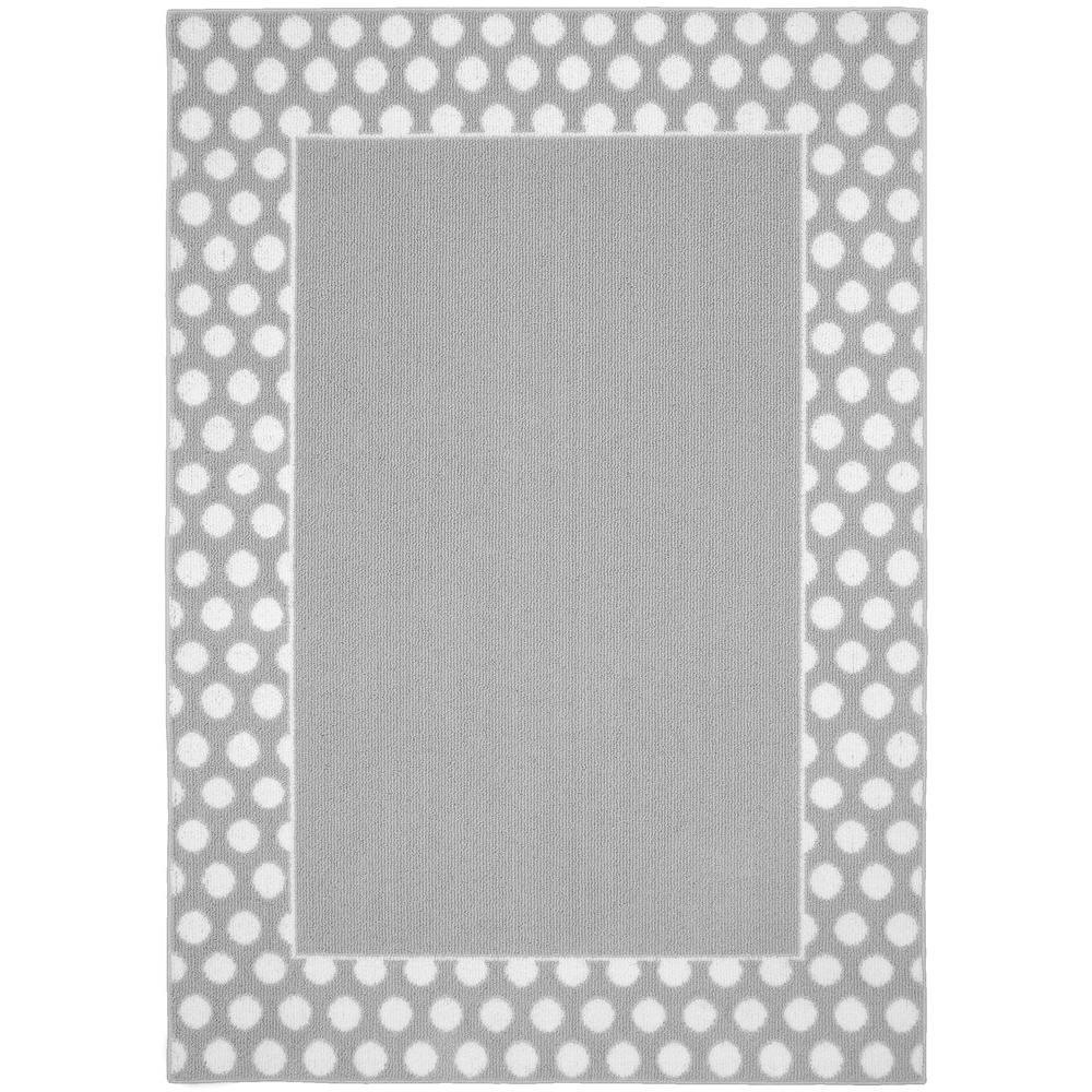 Polka Dot Frame Silver White 5 Ft X 7 Area Rug