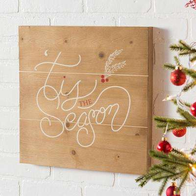 Tis the Season 16 in. x 16 in. Christmas Wooden Wall Art