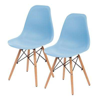 Blue Plastic Shell Chair (Set of 2)