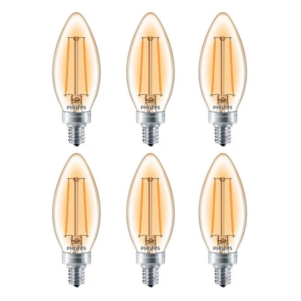 Philips 25-Watt Equivalent Dimmable LED Light Bulb Soft White Clear Glass Candelabra (6-Pack)