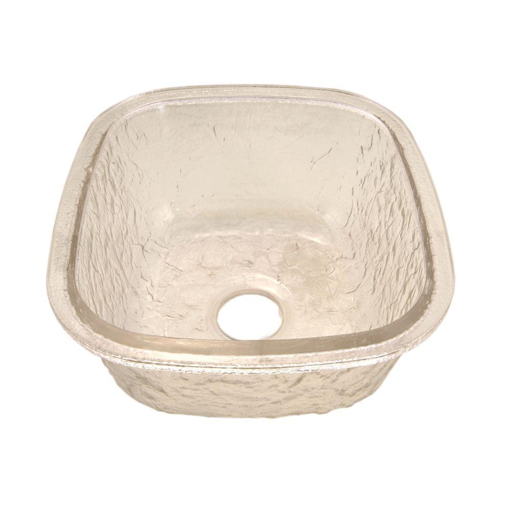 Undermount Glass 17 in. 0-Hole Kitchen Sink in Crystal