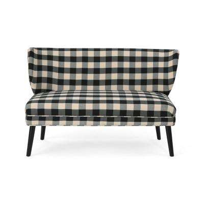 Desdemona Modern Farmhouse Black Checkerboard Fabric Settee