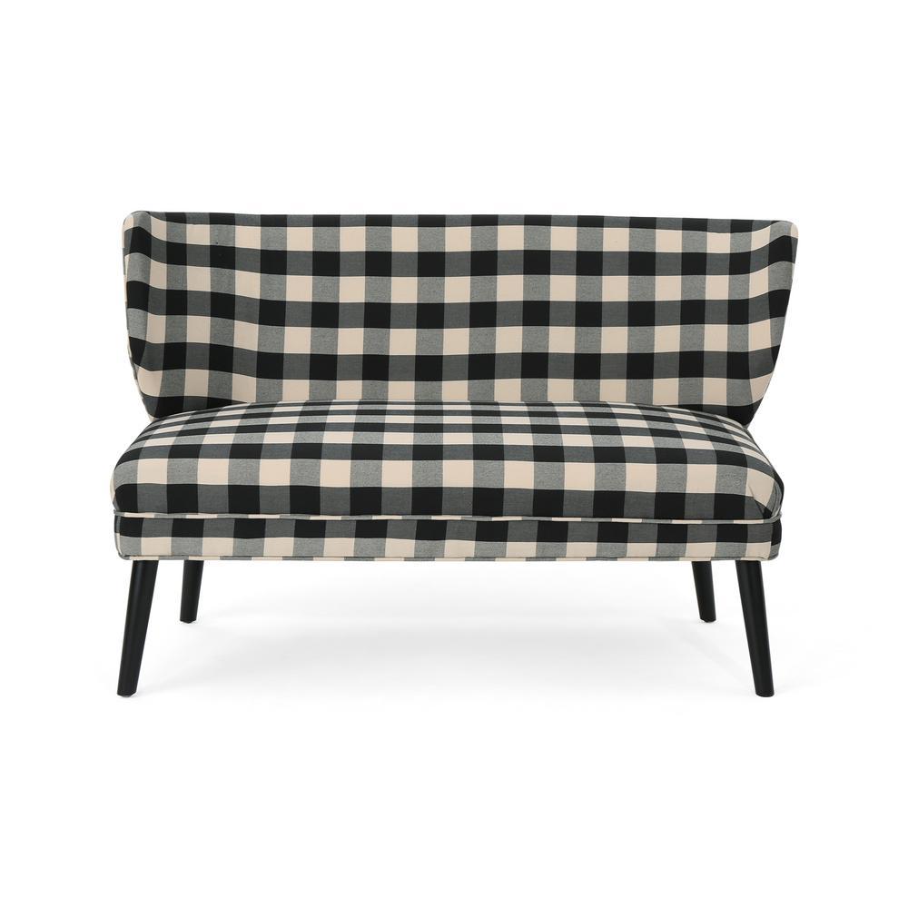 Desdemona Modern Farmhouse Black Checkerboard Fabric Settee