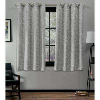 Kilberry 52 in. W x 63 in. L Woven Blackout Grommet Top Curtain Panel in Dove Grey (2 Panels)