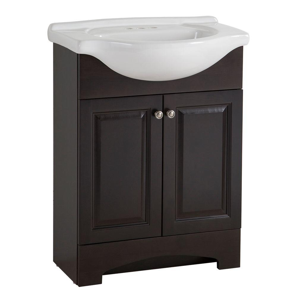 Glacier Bay Chelsea 26 in. W x 36 in H x 18 in. D Bathroom Vanity in Charcoal with Porcelain Vanity Top in White with White Basin