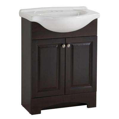 Chelsea 26 in. W x 36 in H x 18 in. D Bathroom Vanity in Charcoal with Porcelain Vanity Top in White with White Basin