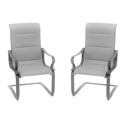 SmartConnect Gray Steel Padded Sling Outdoor Dining Chairs (2-Pack)