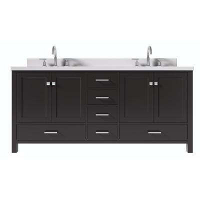 Cambridge 73 in. W x 22 in. D x 35 in. H Vanity in Espresso with Quartz Vanity Top in White with Basin
