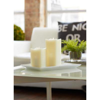 Simplux Ivory Squared Candle with Moving Flame (Set of 2)