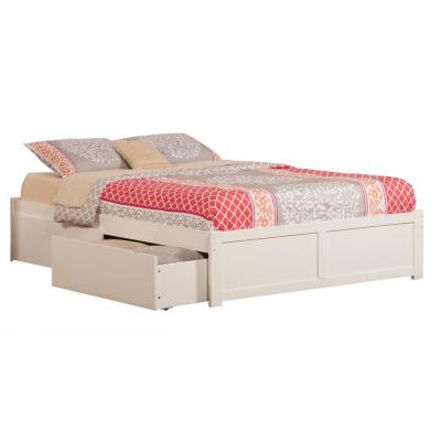 Concord White Queen Platform Bed with Flat Panel Foot Board and 2-Urban Bed Drawers
