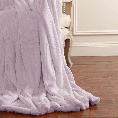 60 in. L Luxe Faux Mink Fur Lavender Throw