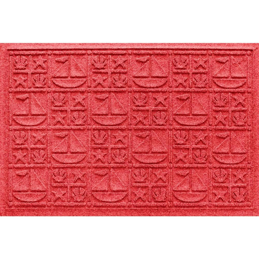 Solid Red 24 in. x 36 in. Nautical Polypropylene Door Mat