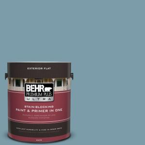 1 gal. #S470-4 Dolphin Blue Flat Exterior Paint and Primer in One