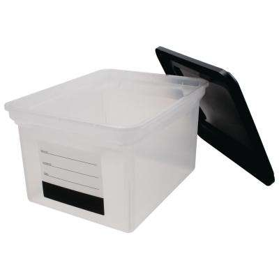 8 Gal. Storage Tote with Contents Label and Lid in Clear