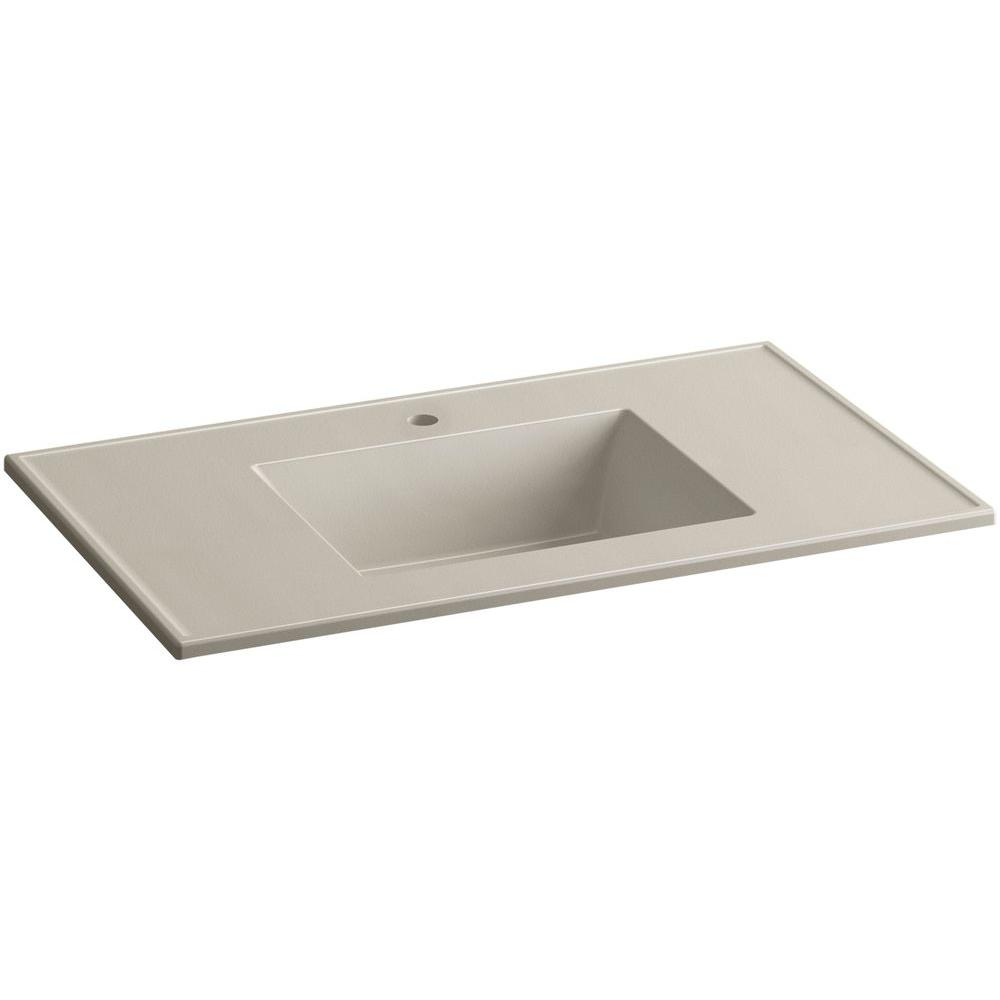 Ceramic/Impressions 37 in. Single Faucet Hole Vitreous China Vanity Top with