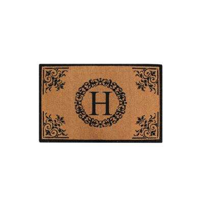 A1HC Hand Crafted Floral 30 in. x 48 in. Monogrammed H Entry Double Door Mat