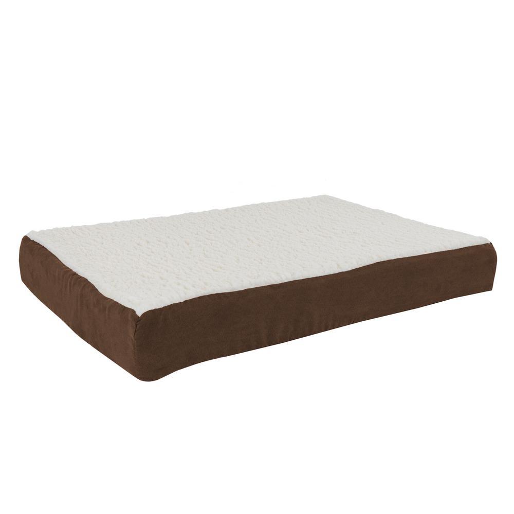 Medium Brown Orthopedic Sherpa Pet Bed
