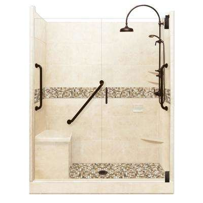 Roma Freedom Luxe Hinged 34 in. x 60 in. x 80 in. Center Drain Alcove Shower Kit in Desert Sand and Old Bronze Hardware