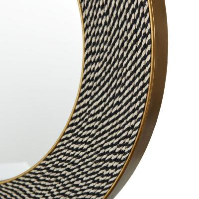 Medium Round Multi-Colored Black & White Woven Rope Modern Accent Mirror (24 in. Diameter)
