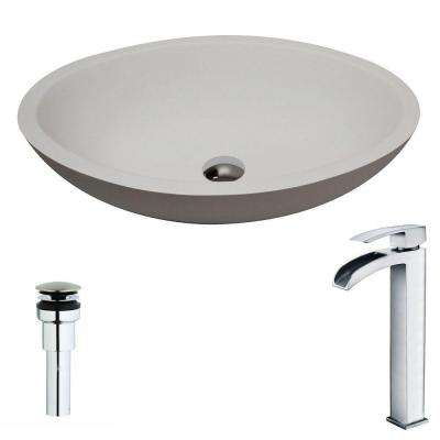 Maine Series 1-Piece Man Made Stone Vessel Sink in Matte White with Key Faucet in Polished Chrome