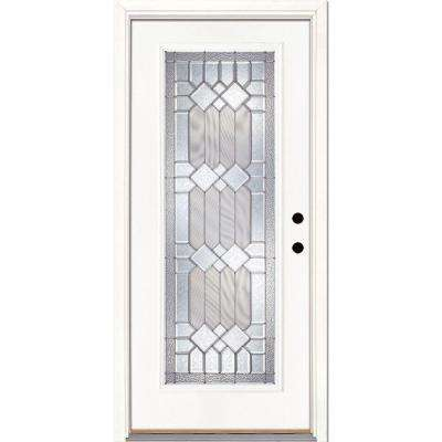 33.5 in. x 81.625 in. Mission Pointe Zinc Full Lite Unfinished Smooth Left-Hand Inswing Fiberglass Prehung Front Door