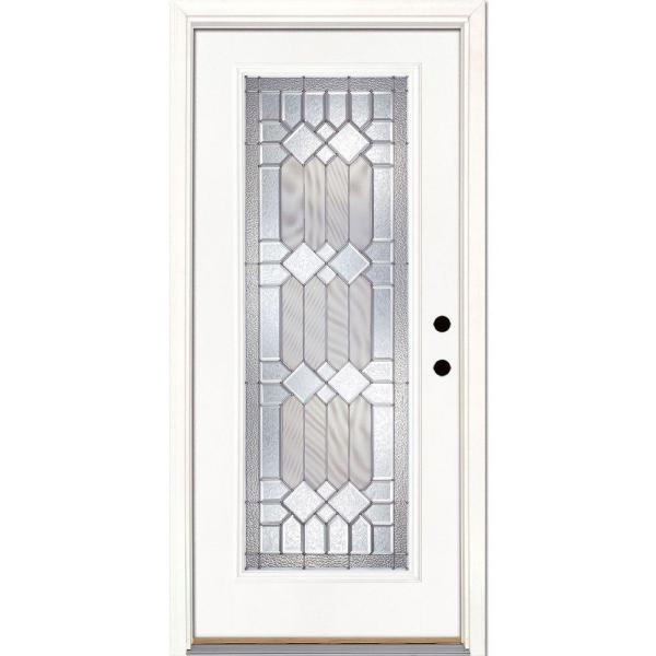 37.5 in. x 81.625 in. Mission Pointe Zinc Full Lite Unfinished Smooth Left-Hand Inswing Fiberglass Prehung Front Door