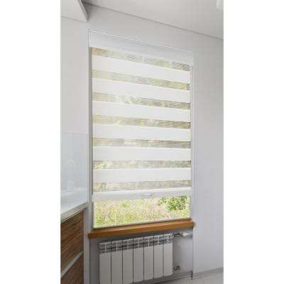39 in. W x 72 in. L Cordless White Zebra Roller Shade, Privacy Light Filtering with Valance