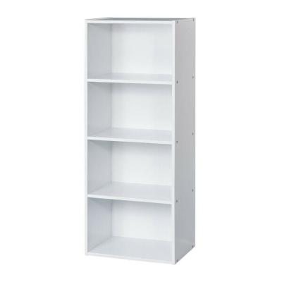 40.6 in. White Wood 4-shelf Ladder Bookcase with Open Storage