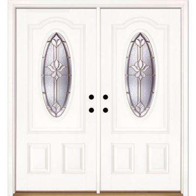 74 in. x 81.625 in. Medina Brass 3/4 Oval Lite Unfinished Smooth Left-Hand Inswing Fiberglass Double Prehung Front Door