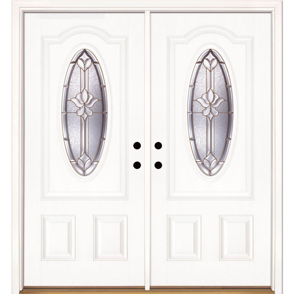Feather River Doors 74 in. x 81.625 in. Medina Brass 3/4 Oval Lite Unfinished Smooth Right-Hand Inswing Fiberglass Double Prehung Front Door