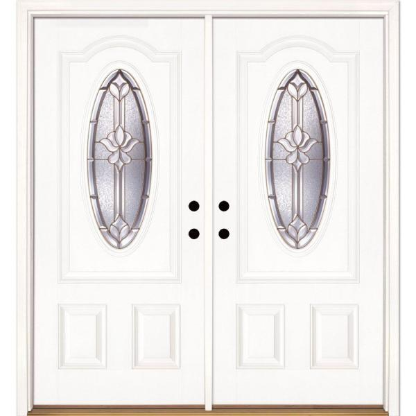 74 in. x 81.625 in. Medina Brass 3/4 Oval Lite Unfinished Smooth Right-Hand Inswing Fiberglass Double Prehung Front Door