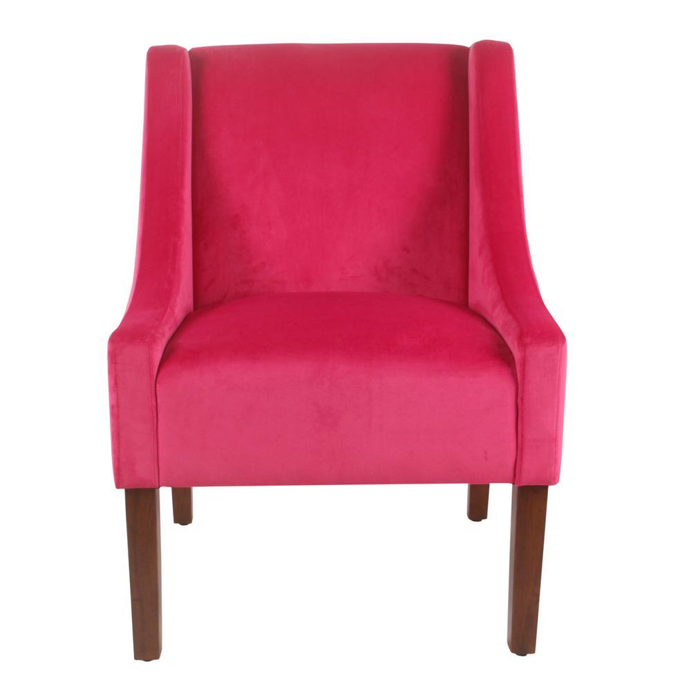 Pink Velvet Modern Velvet Swoop Arm Accent Chair