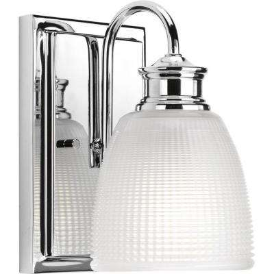 Lucky Collection 5 in. 1-Light Polished Chrome Bath Sconce with Clear Double Prismatic Glass Shade