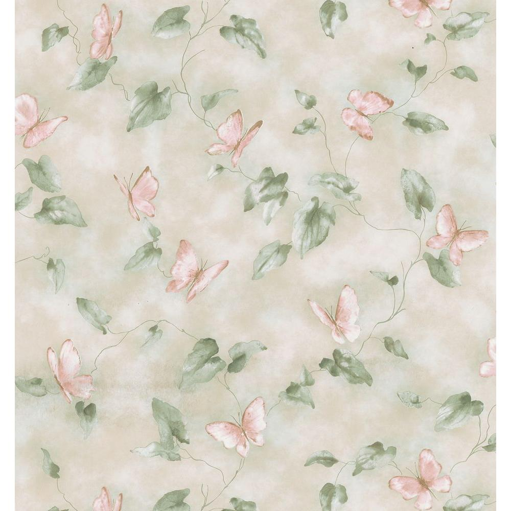 Kitchen and Bath Resource II Neutral Butterfly Trail Wallpaper Sample