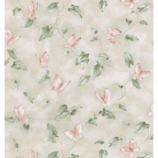 Brewster Kitchen and Bath Resource II Neutral Butterfly Trail Wallpaper Sample