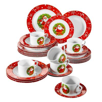 30-Piece Porcelain Dinnerware Set Christmas Santa Claus Dinner Plates Cups and Saucers Set (Service for 6)