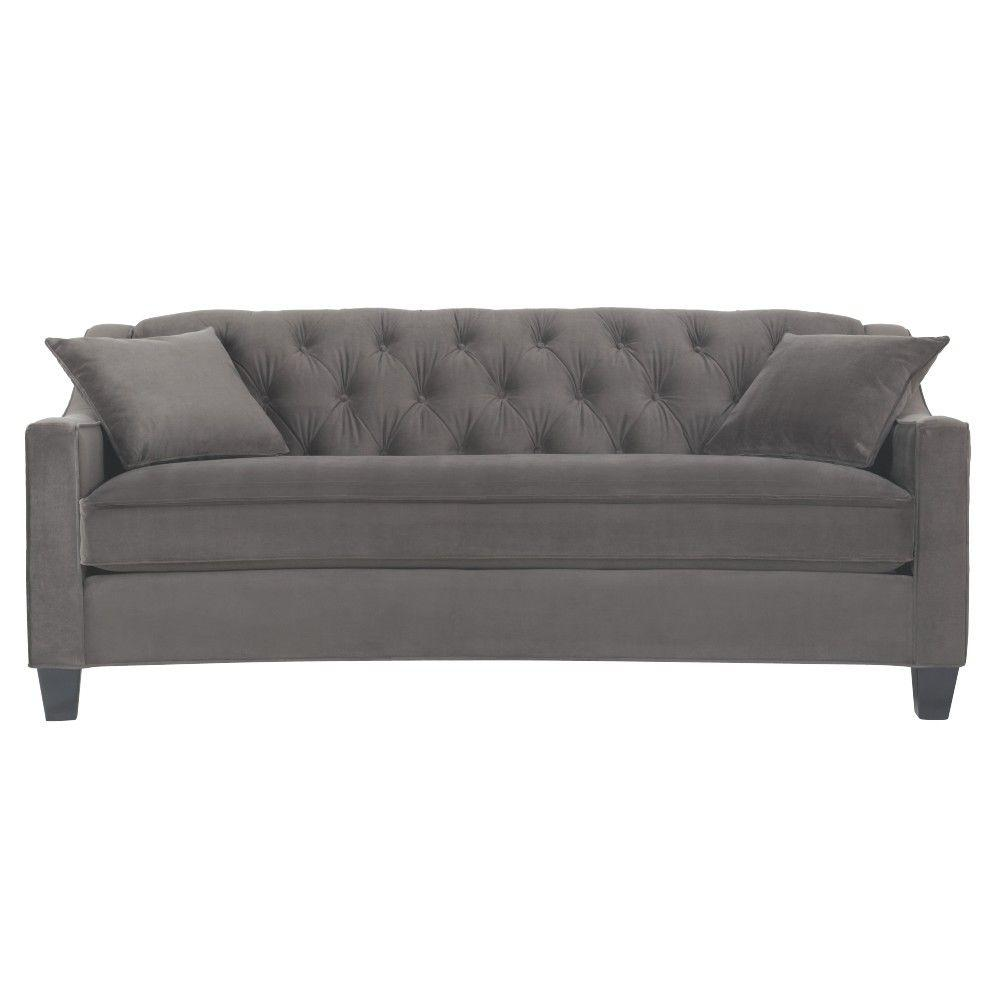 home decorators collection riemann smoke polyester sofa 9419200200 the home depot. Black Bedroom Furniture Sets. Home Design Ideas