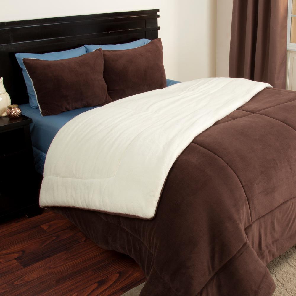 3-Piece Chocolate Sherpa-Fleece King Comforter Set