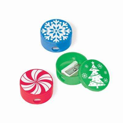 Red, Green and Blue Christmas Pencil Sharpeners (12-Count, 4-Pack)