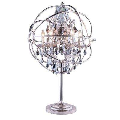 Geneva 34 in. Polished Nickel Table Lamp with Silver Shade Grey Crystal