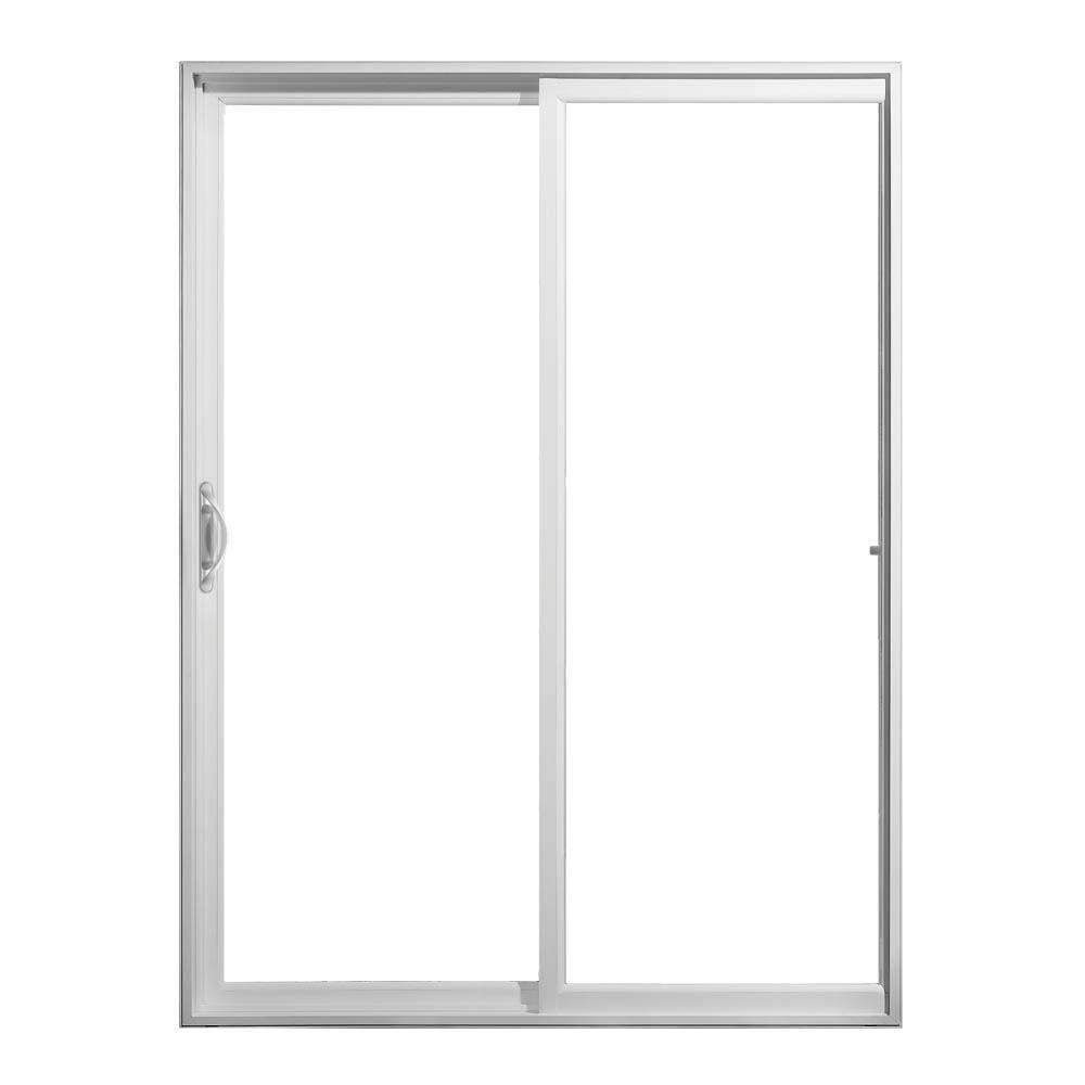 Jeld wen 72 in x 80 in v 2500 white vinyl left hand full for Full glass patio door