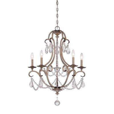 Gala 5-Light Argent Silver Interior Incandescent Chandelier