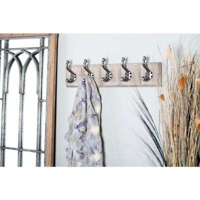 Gray Wood and Iron Rectangular Wall Hook Rack with 5 Hooks