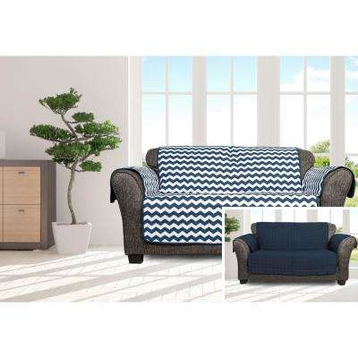 Fifi Water Resistant Navy Fit Polyester Fit Loveseat Slip Cover