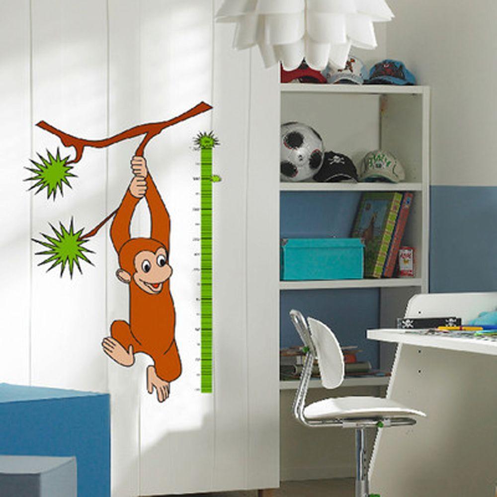 36 in. H x 36 in. D 36-Piece Monkey Measuring Wall Sticker (2-Sheets)