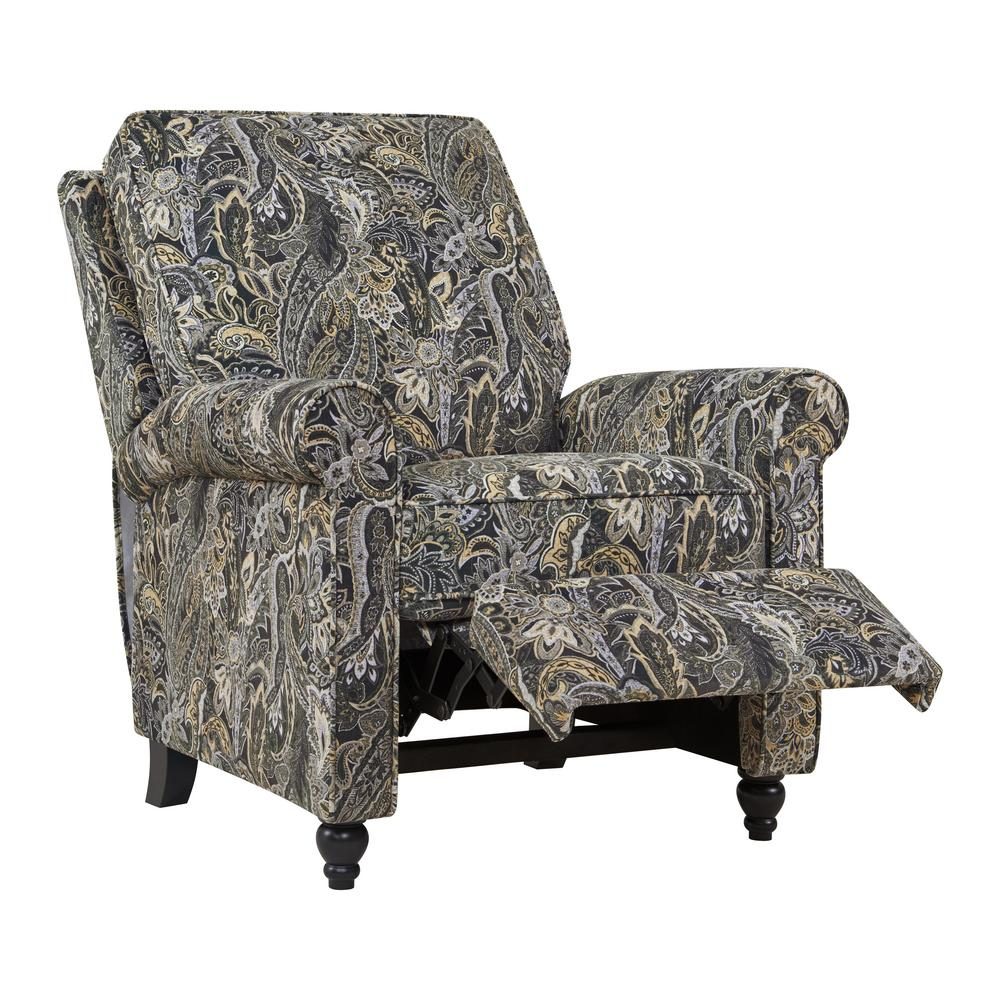 Multi-Gray Paisley Velvet Push Back Recliner Chair